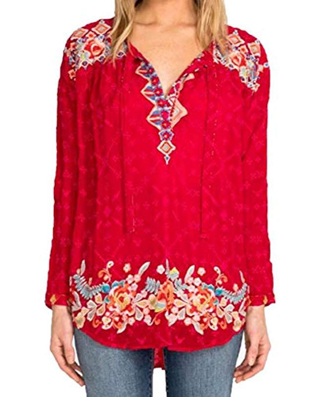 751003b0e0d3d2 Lyst - Johnny Was Tie Neck Boho Blouse With Embroidery in Red
