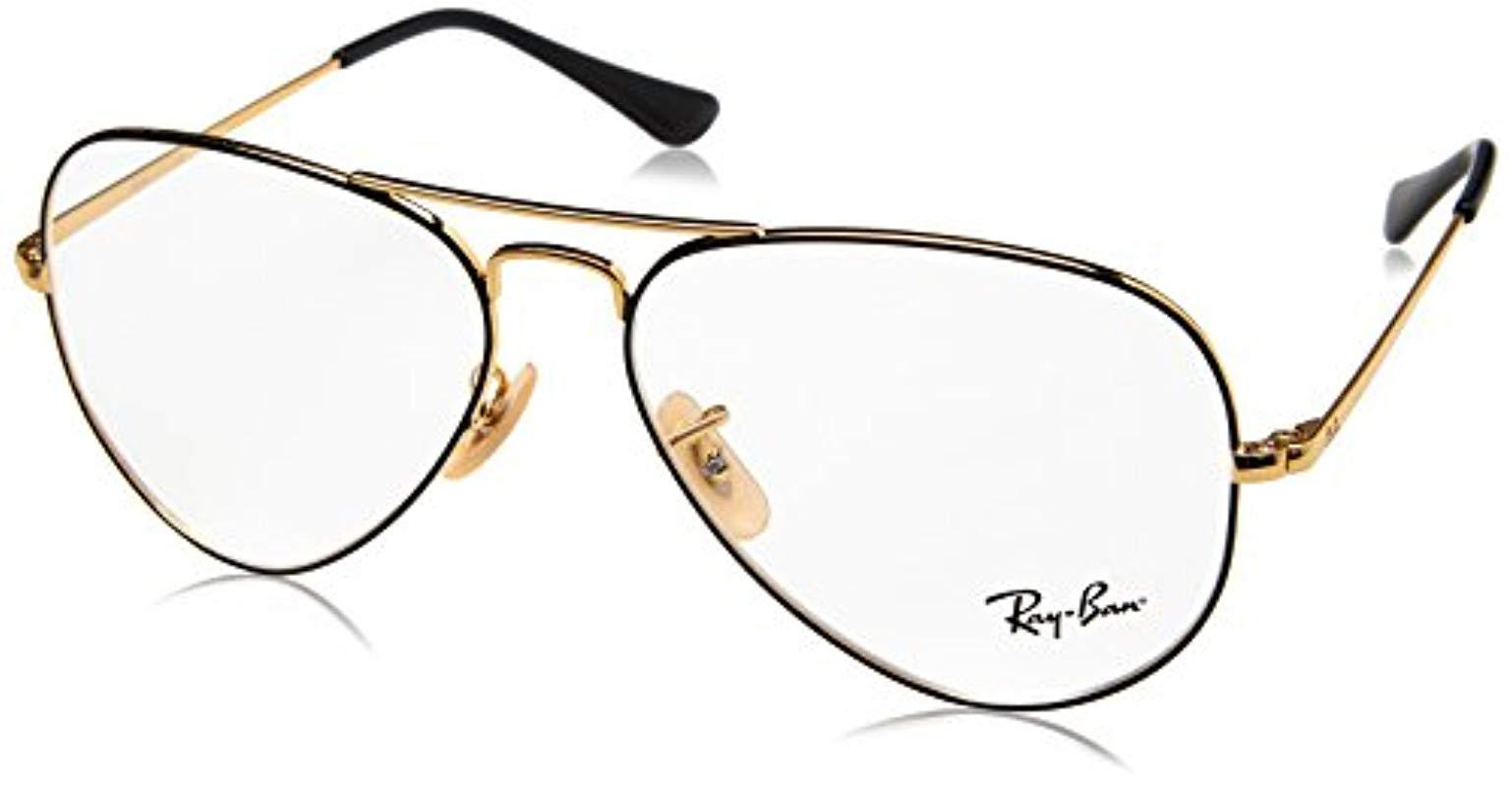 440401d253 Ray-Ban Rx6489 Aviator Glasses In Black Gold Rx6489 2946 58 in ...