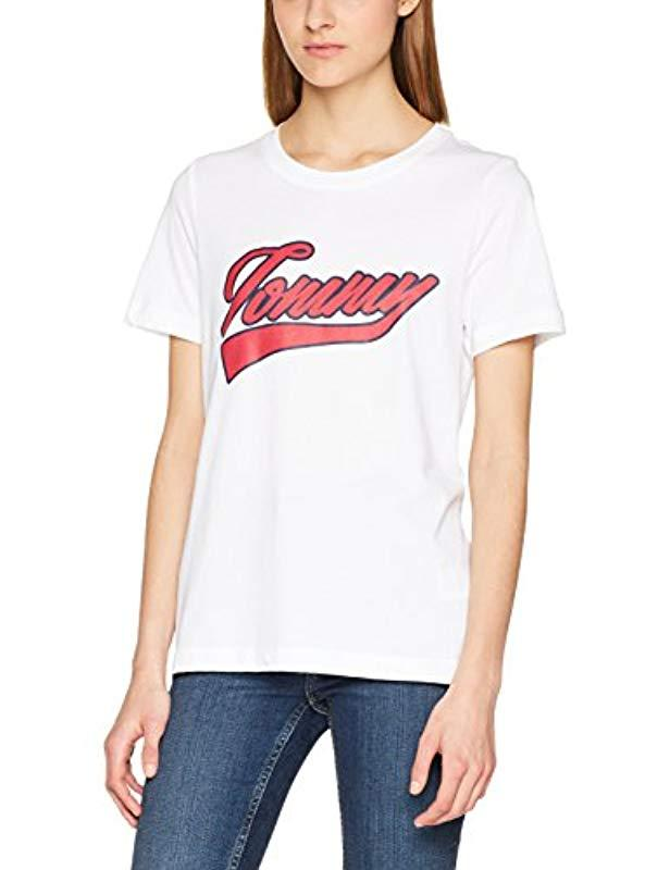 a4ea757c Tommy Hilfiger 's Tommy Logo Script Prt Tee Ss T-shirt in White - Lyst