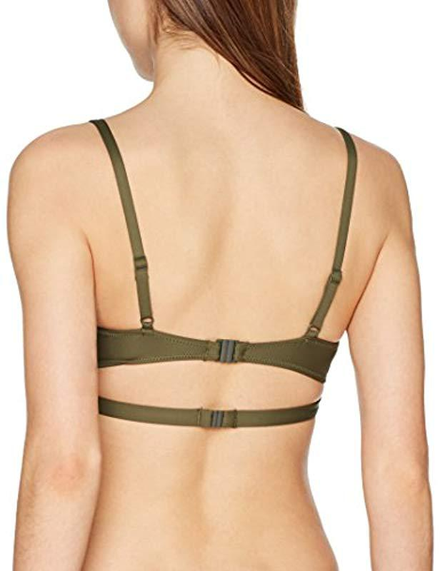 7da338e05c Calvin Klein Triangle Bralette-rp Bikini Top in Green - Save 11% - Lyst