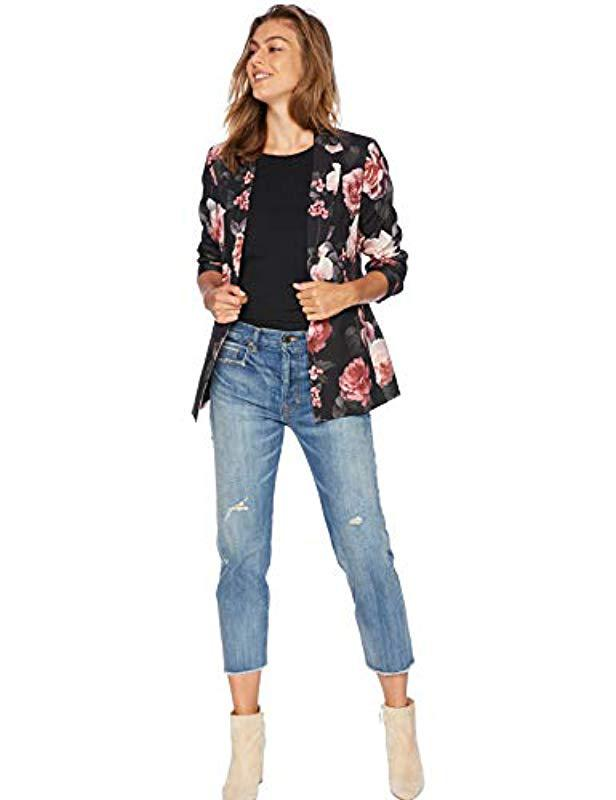 1cc8cbf025c Lyst - Nine West 1 Button Notch Collar Floral Printed Crepe Jacket ...
