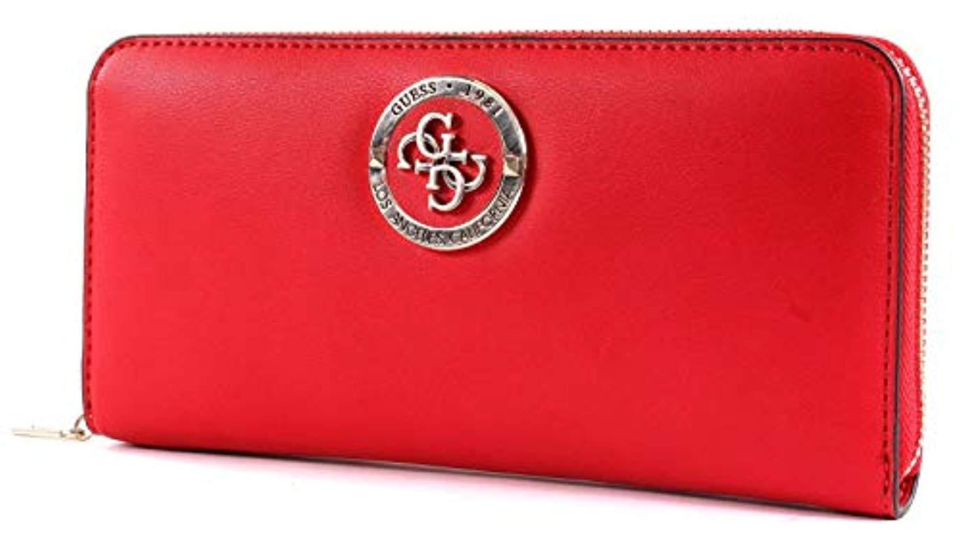 7657d5edc9 Guess - Red Landon Slg Large Zip Around Wallet - Lyst. View fullscreen