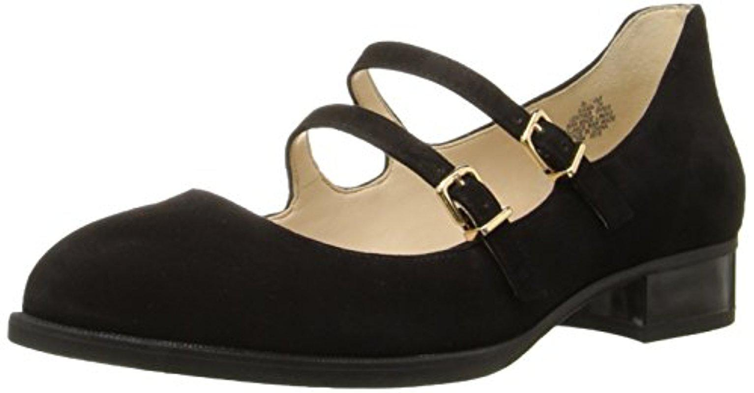 Nine West. Women's Black Nalita Suede Mary Jane Flat