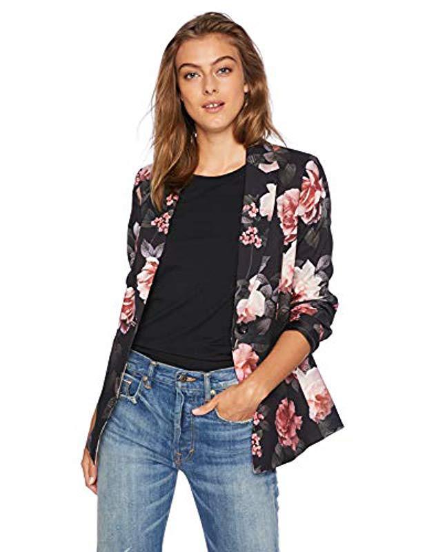 31ce1538622 Nine West. Women s Black 1 Button Notch Collar Floral Printed Crepe Jacket