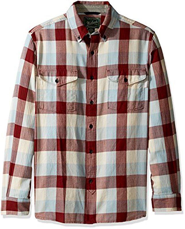 Woolrich. Men's Red Stone Rapids Eco Rich Modern Fit Shirt