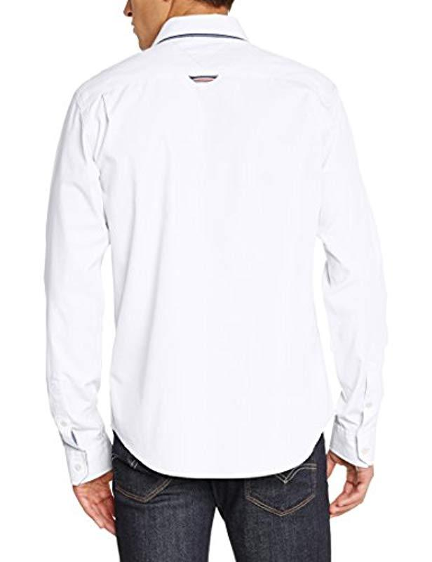 d9625e0b96bca2 Tommy Hilfiger Teddy Kir Long Sleeve Classic Casual Shirt in White for Men  - Lyst