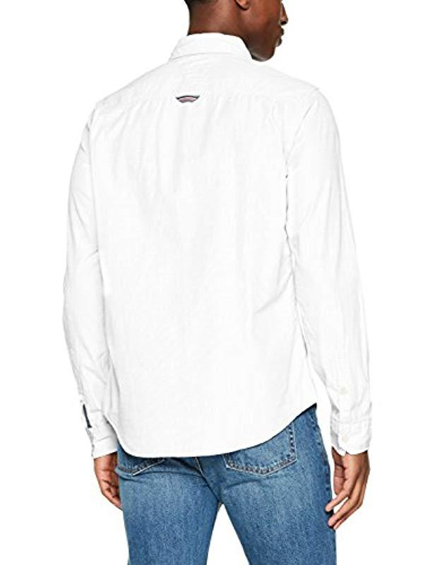 263be665 Tommy Hilfiger Original End On End Long Sleeve Classic Casual Shirt in White  for Men - Lyst