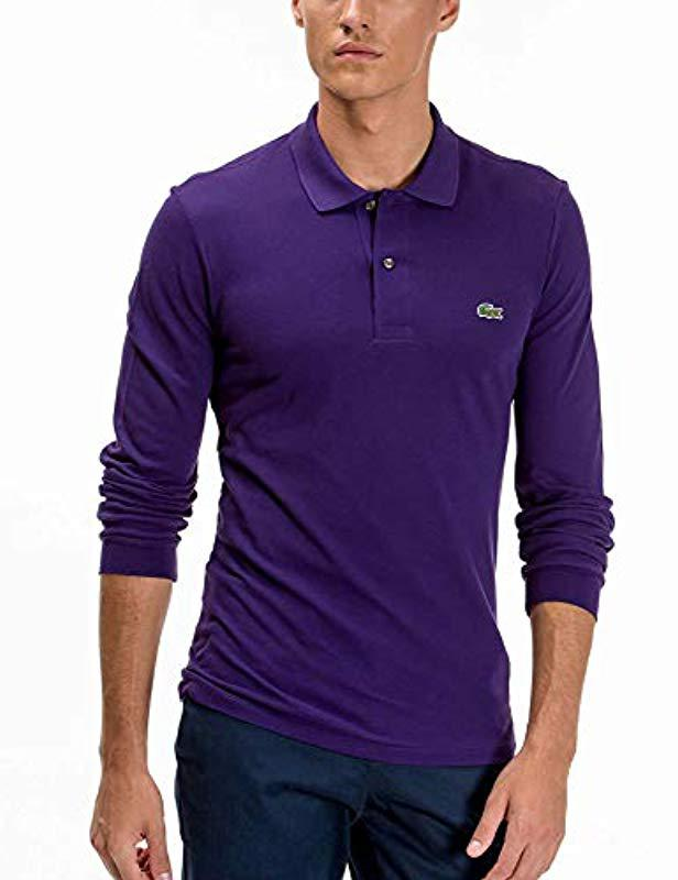 99967edff6 Lyst - Lacoste Long Sleeve Classic Pique L.12.12 Original Fit Polo Shirt in  Gray for Men