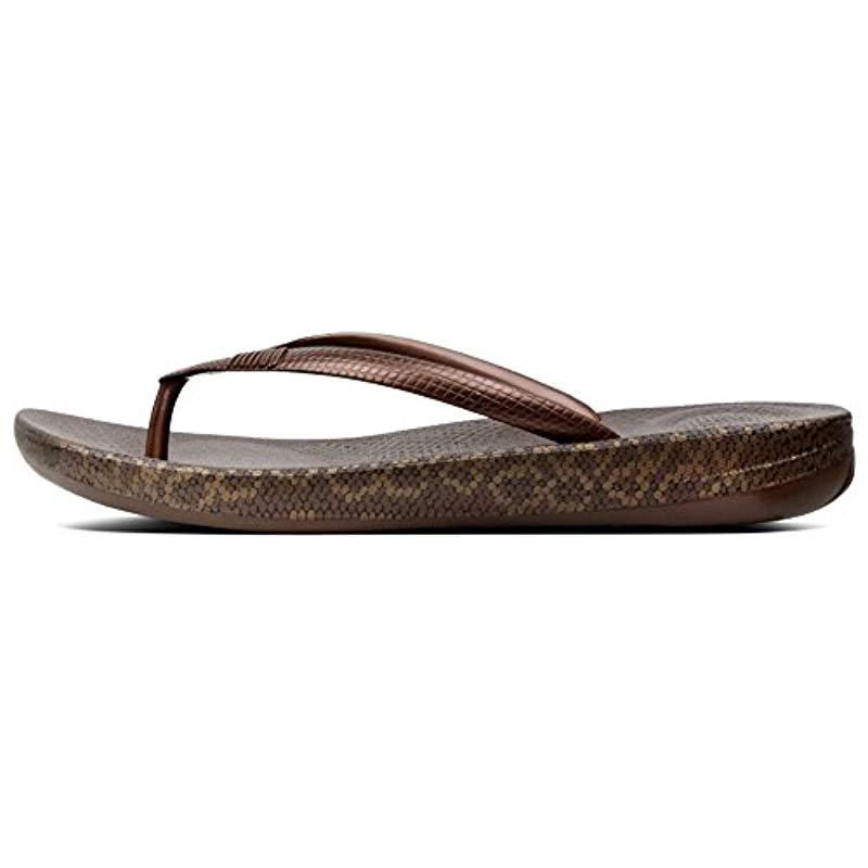 c6f15c094dbeec Fitflop  s Iqushion Snakeprint Flip Flops in Brown - Lyst