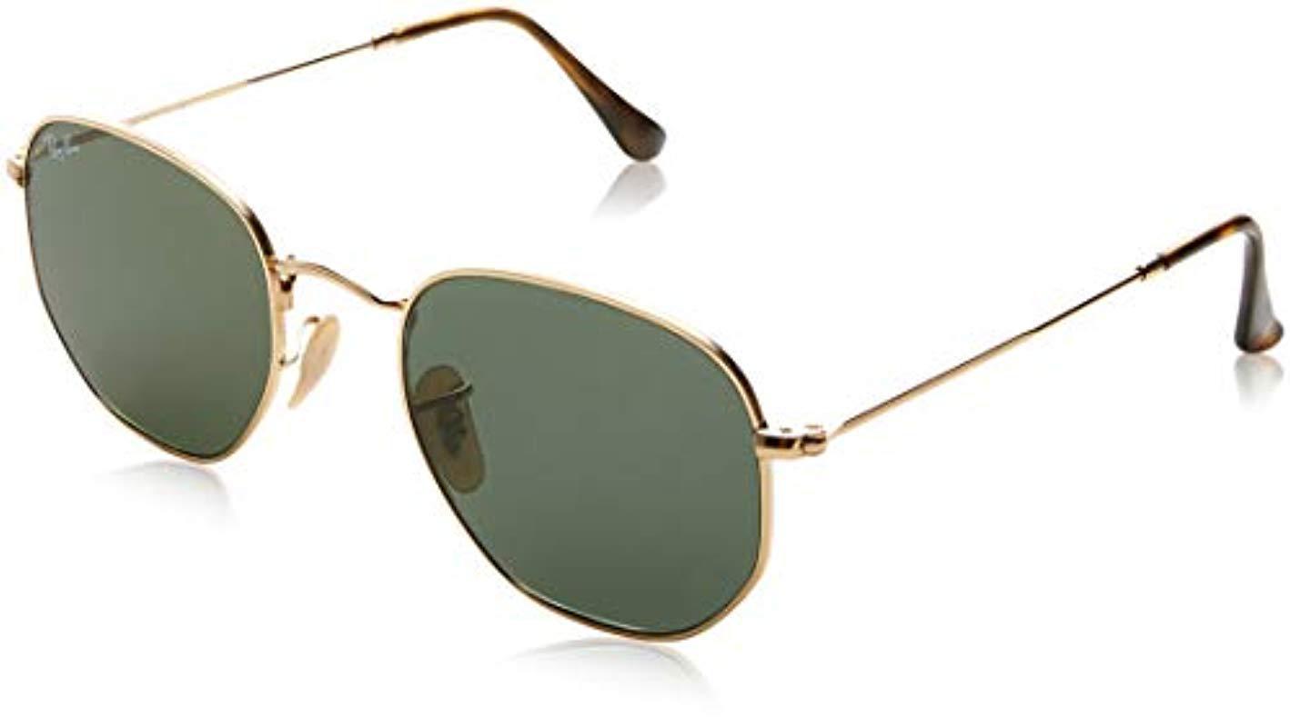 07c37659b6f06 Ray-Ban. Men s Metallic Hexagonal Flat Lens Sunglasses In Gold Light Blue  Flash ...