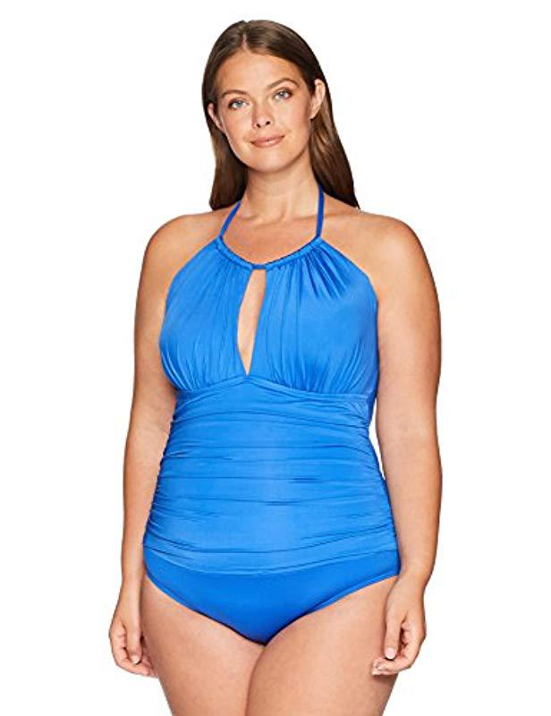 69b5c3ad261b4 Kenneth Cole Reaction. Women s Blue Plus Size Tummy Control High Neck One  Piece Swimsuit