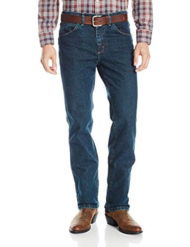 a4ae39a3 Wrangler. Men's Blue 's Premium Performance Advanced Comfort Cowboy Cut  Slim Fit Jeans
