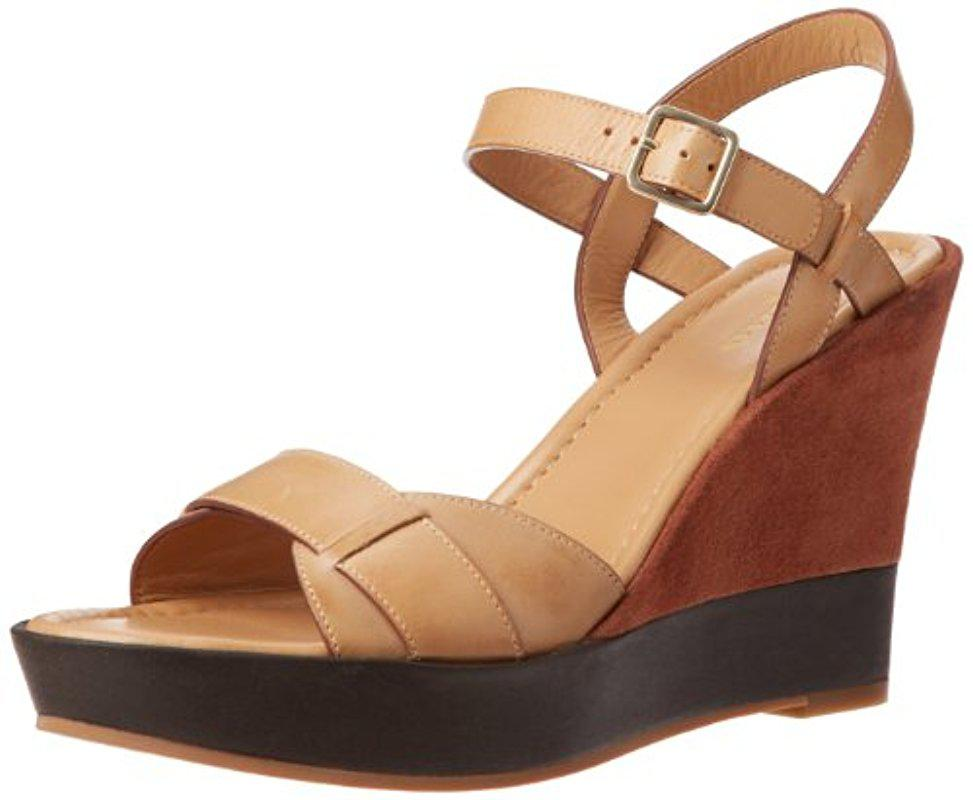 Womens Sandals Cole Haan Paley High Wedge Sandstione/Sequoia Suede