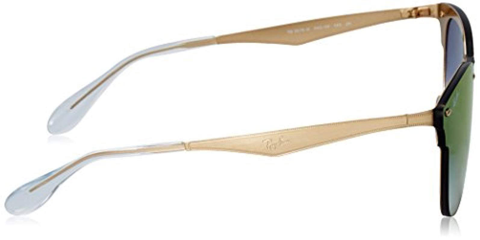 14766242262 ... Blaze Clubmaster Sunglasses In Brushed Gold Blue Red Gradient Mirror  Rb3576n. View fullscreen