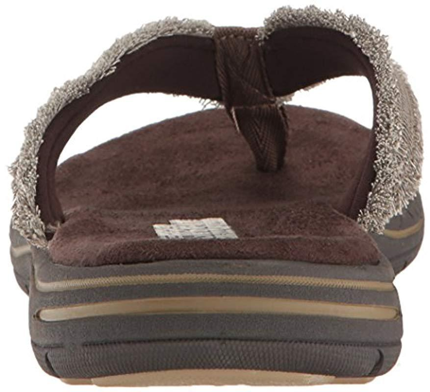 19834a19eb47 Skechers - Brown Evented Arven Flip Flop for Men - Lyst. View fullscreen