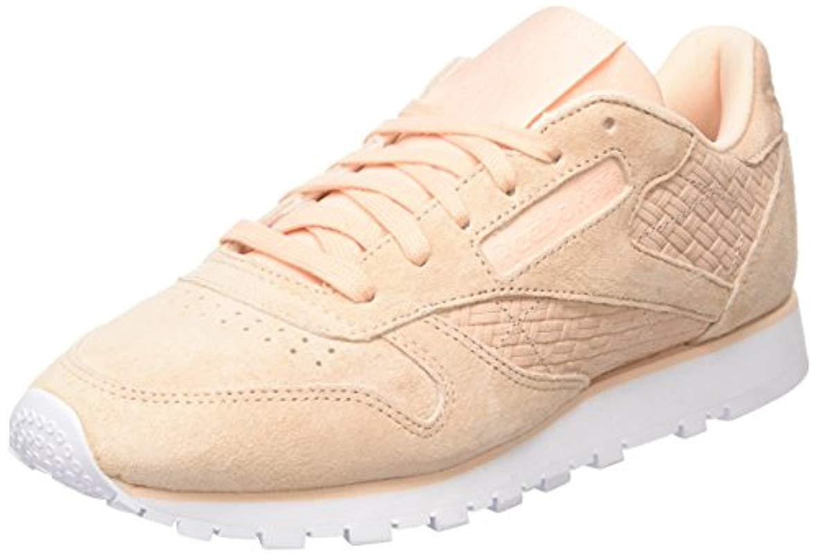 0fc8b2c9e11 Reebok Classic Leather Woven Emb Trainers in Natural - Lyst