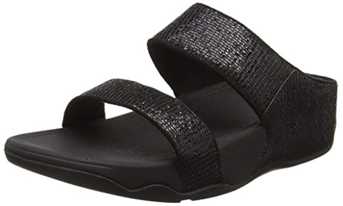20f4bd14b87 Fitflop  s Lulu Superglitz Slide Sandals in Black - Lyst