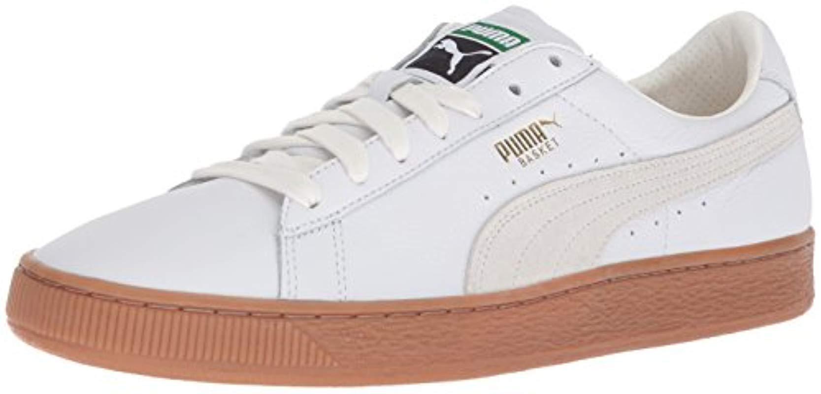 7da0ebc1237 Lyst - PUMA Basket Classic Gum Deluxe Sneaker in White for Men ...