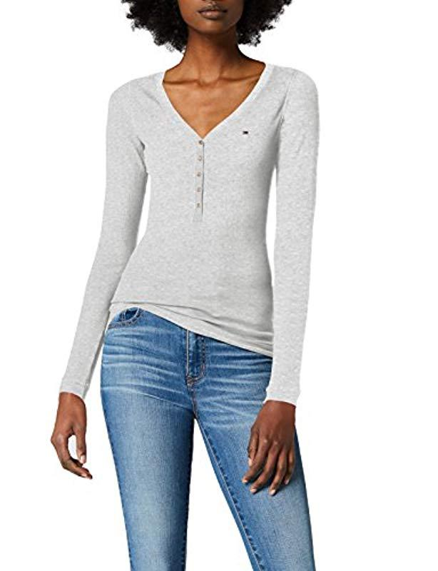 efdbf567 Tommy Hilfiger. Women's Gray Original Rib Henley Long Sleeve Button Front T- shirt