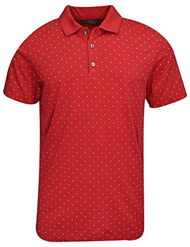ceb836bf11 Lyst - Perry Ellis Micro Print Pima Cotton Polo Shirt in Red for Men