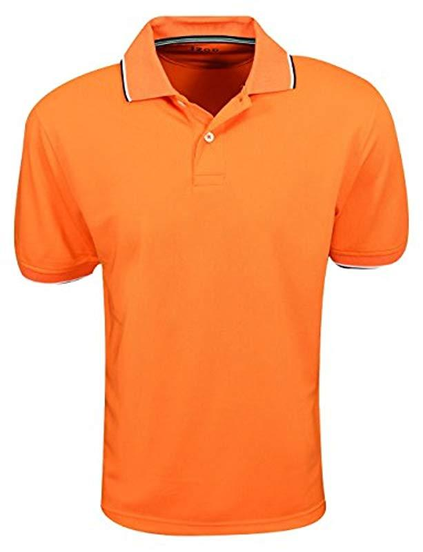 70ca6fc7 Lyst - Izod Pique Tipped Collar Polo in Orange for Men