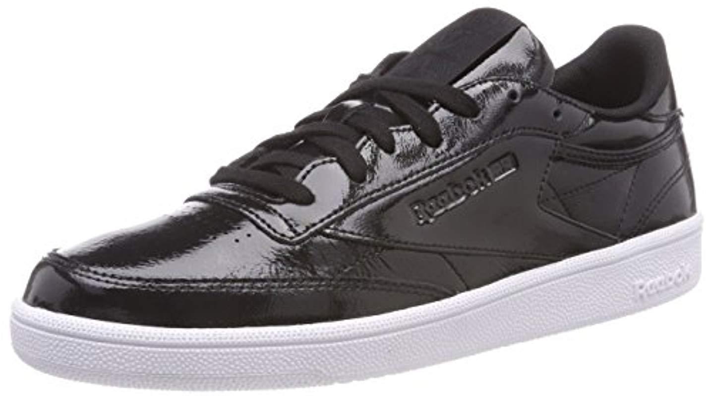 buy popular a45e6 13e1f ... classic shoes c040d 43894 Reebok. Womens Black Club C 85 Patent Tennis  Shoes ...