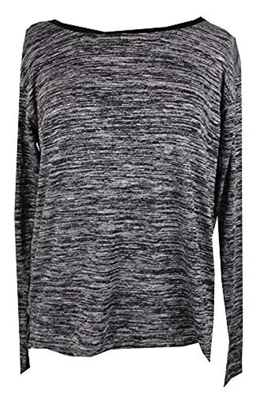 efd8ef052b8a5 Lyst - Calvin Klein Jeans Long Sleeve Marled V-back T-shirt in Black