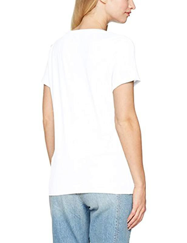 Guess Ss Vn Lace Logo Tee T-shirt in White - Lyst 790f3dc0fe59a