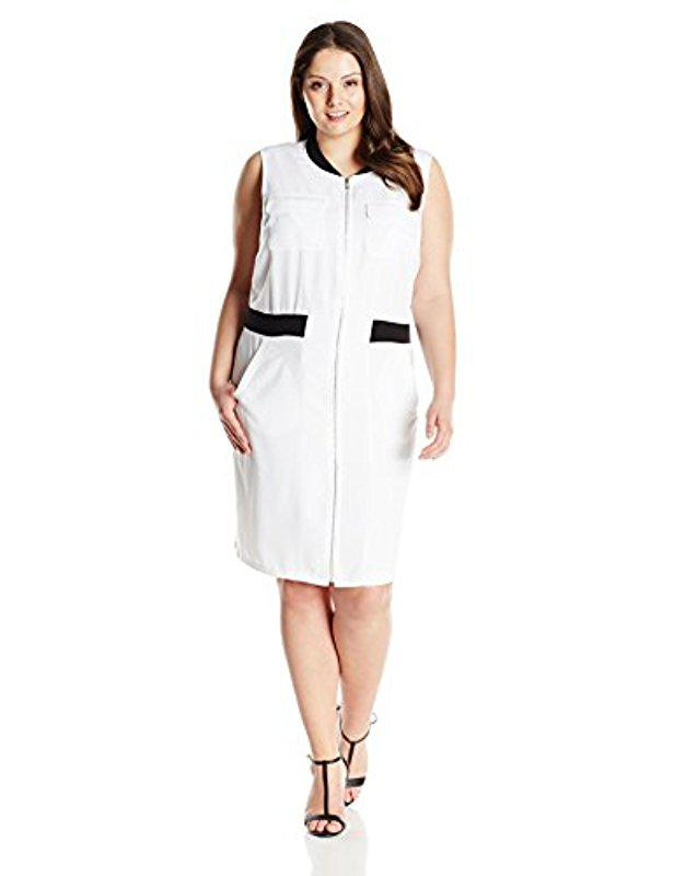 Lyst Calvin Klein 205w39nyc Plus Size Zip Front Dress With Pockets