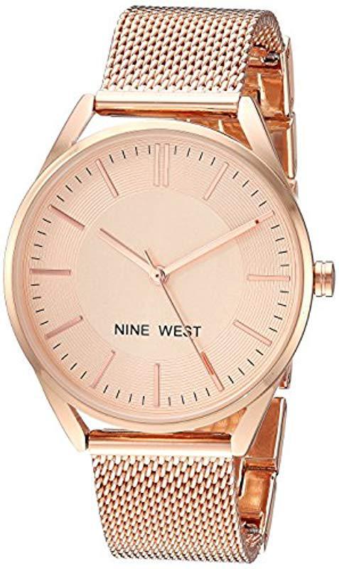 03166d3c59c5 Lyst - Nine West Nw 2194rgrg Rose Gold-tone Mesh Bracelet Watch in ...