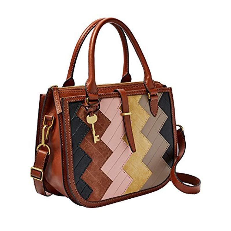 0b94f68415 Lyst - Fossil Ryder Satchel Patchwork in Brown