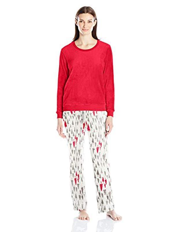 fb595b93adb7 Lyst - Hanes Warm And Cozy Plush Pajama Set in Red