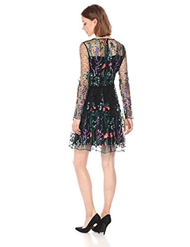 160527df727 Lyst - Bebe Long Sleeve Floral Embroidered Fit Flare Dress in Black