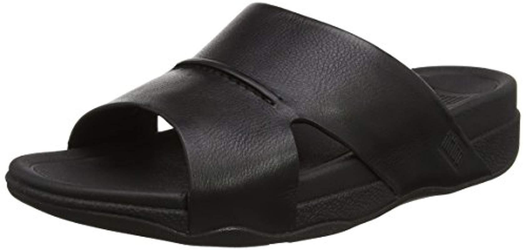 487832324703e9 Fitflop  s Bando Leather Slides Open-toe Sandals in Black for Men - Lyst