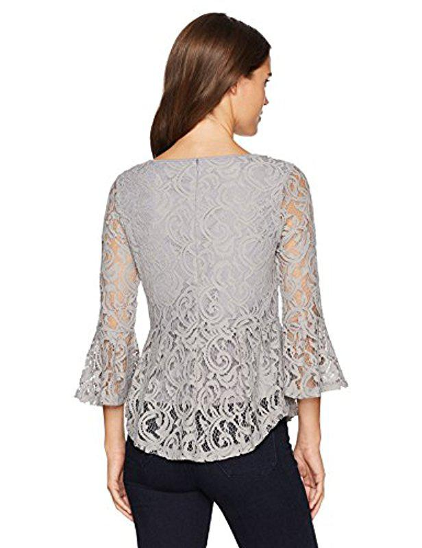 31c56814337cf2 Adrianna Papell Long Bell Sleeve High/low Peplum Lace Blouse in ...
