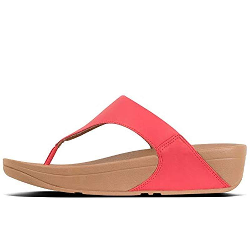 57d9a08e4 Fitflop - Red Lulu Leather Womens Toe Post Sandals - Lyst. View fullscreen