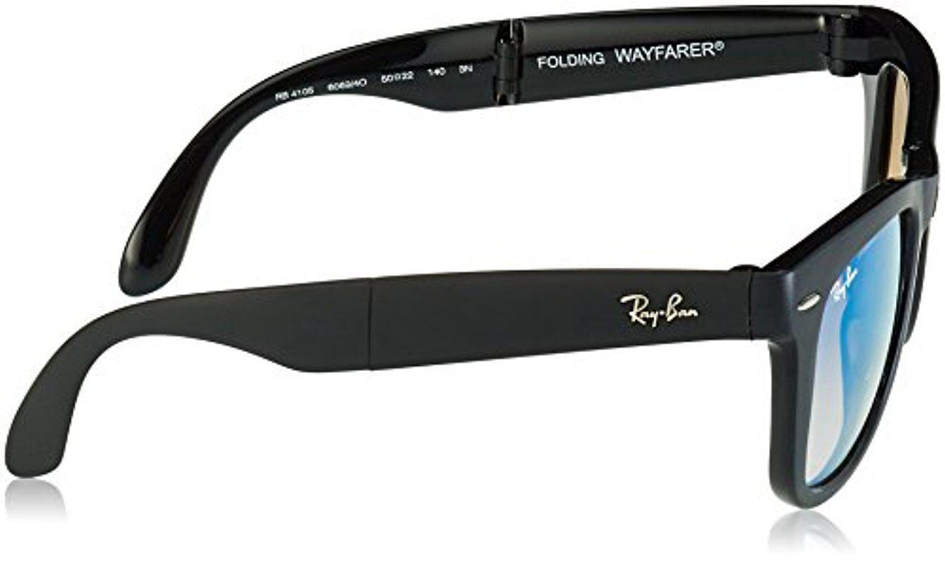 6228a8f9ea6a9 Lyst - Ray-Ban Folding Wayfarer - Matte Black Frame Mirror Gradient ...