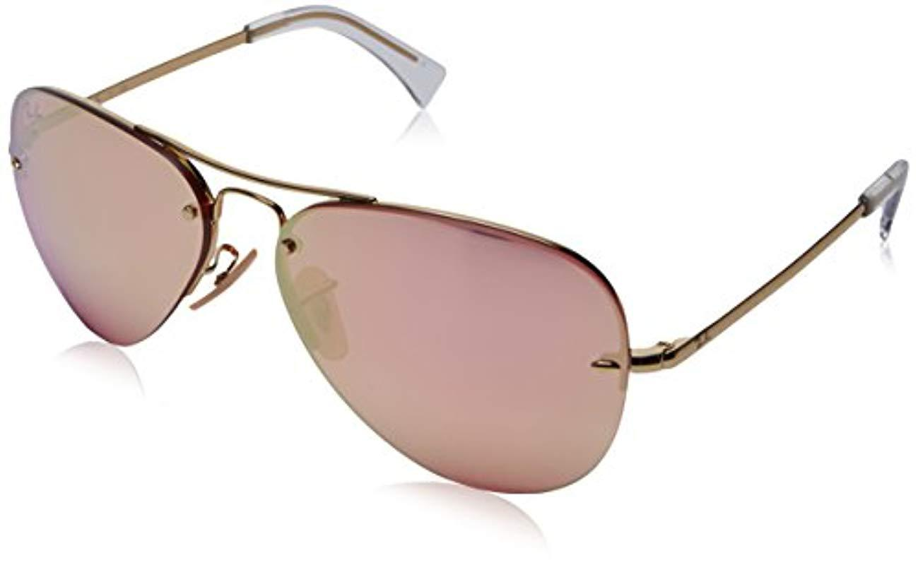 219a925a4a8 Ray-Ban Rimless Aviator Sunglasses In Gold Pink Copper Flash Mirror ...
