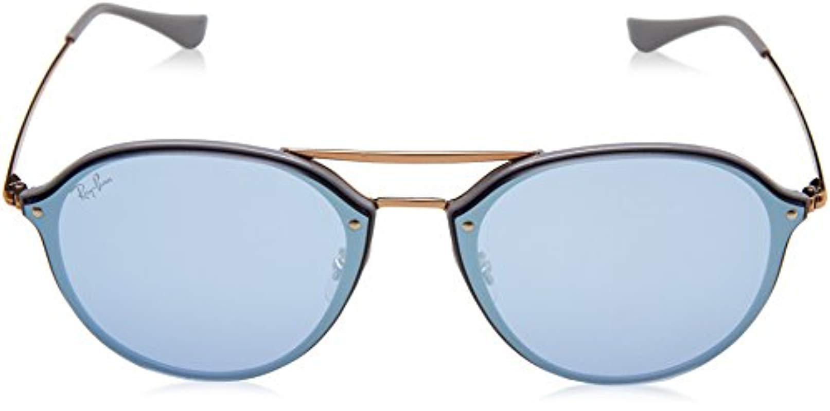 29ffec3cf18 Ray-Ban Blaze Double Bridge Rimless Sunglasses In Light Grey Blue ...