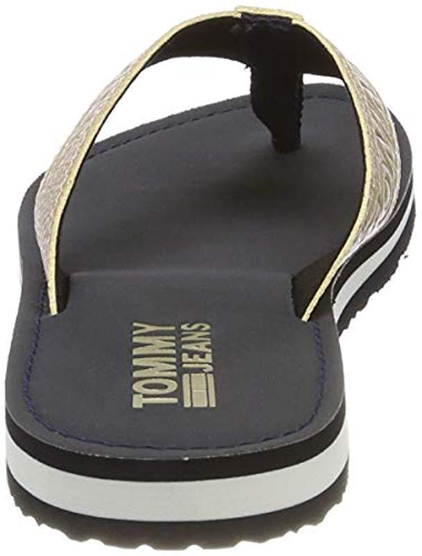 a2ab829854920 Tommy Hilfiger Shiny Metallic Beach Sandal Flip Flops in Blue - Lyst