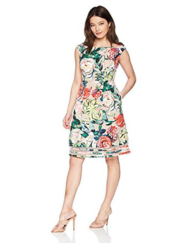 Lyst - Adrianna Papell Petite Stained Glass Floral Faille Fit And ...