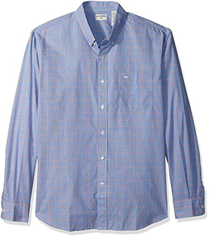 ad800843a78 Lyst - Dockers No Wrinkle Long Sleeve Button Front Shirt in Blue for Men