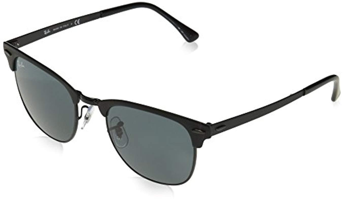 Ray-Ban Metal Clubmaster Sunglasses In Matte Black Blue Rb3716 186 ... cfee2838d2c8