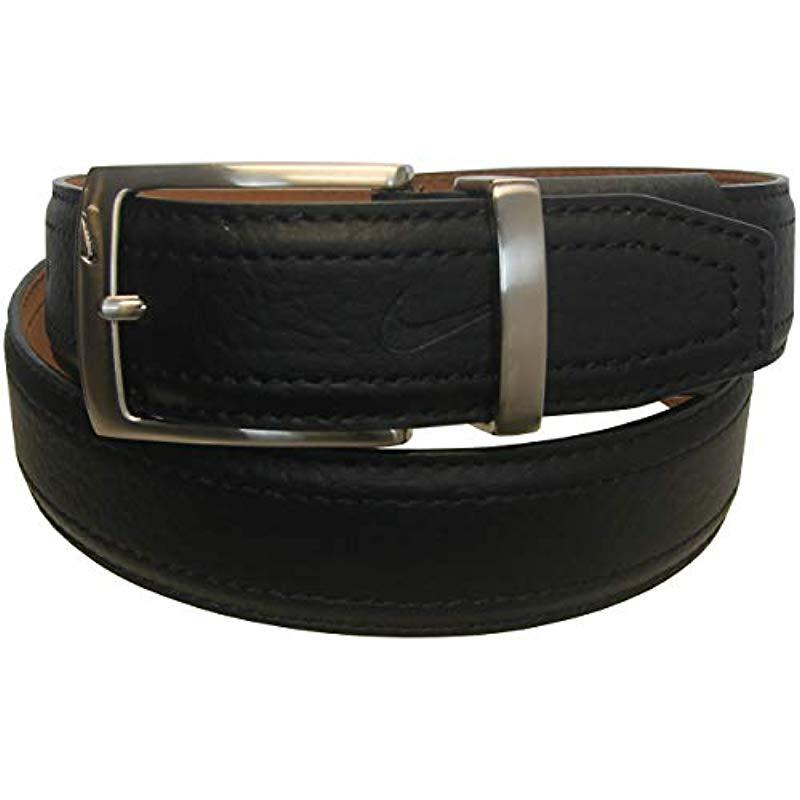 924fdf9a678 Lyst - Nike G-flex Pebble Grain Leather Belt in Black for Men - Save 53%