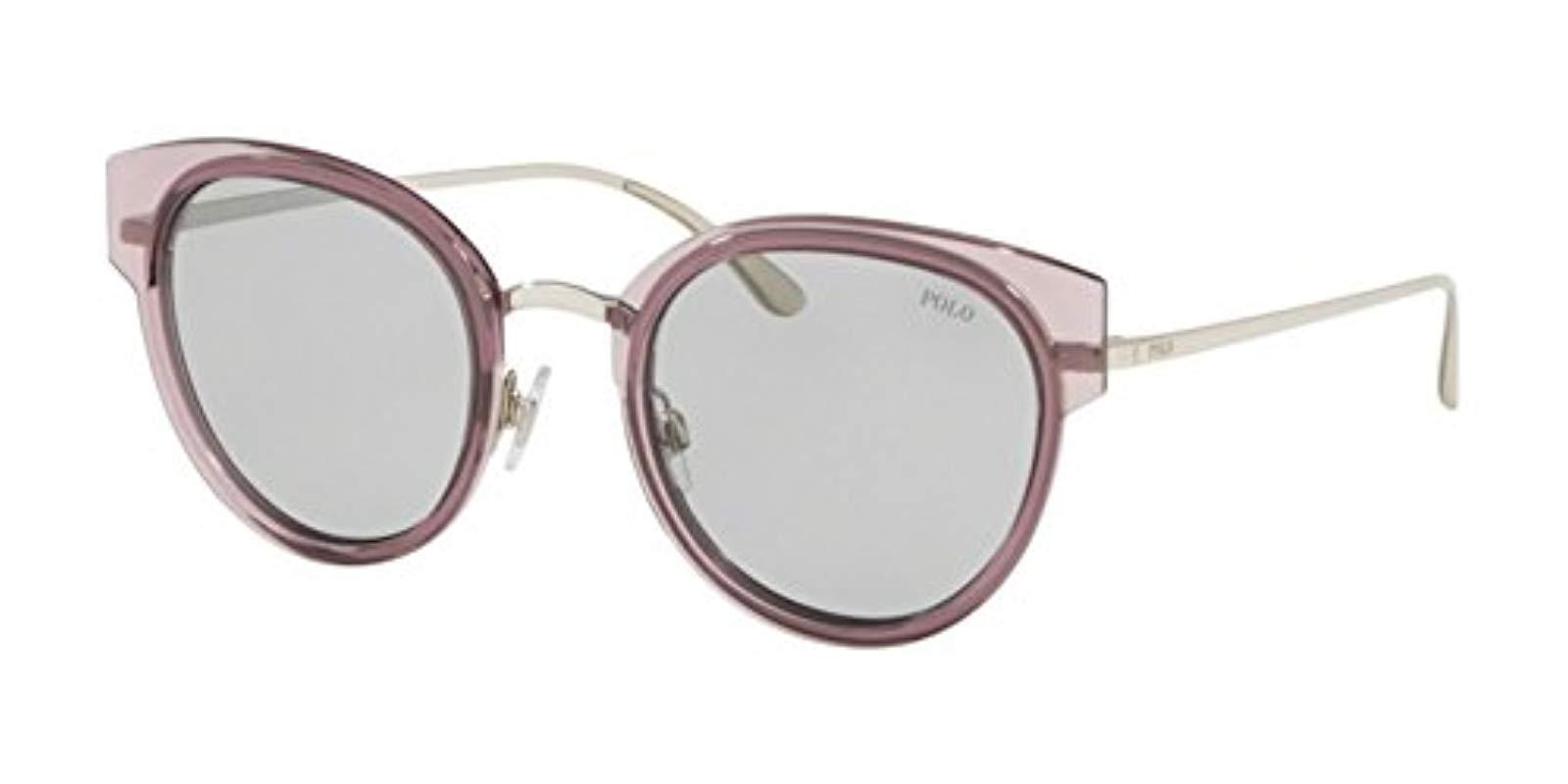 794051b90a5 Lyst - Polo Ralph Lauren 0ph3116 Round Sunglasses Trasparent Pink ...