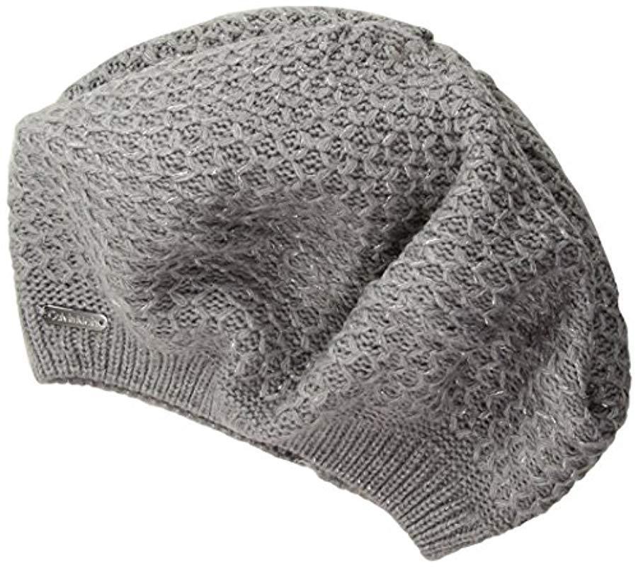 6a0df061d13 Lyst - Calvin Klein Lurex Texture Beret in Gray