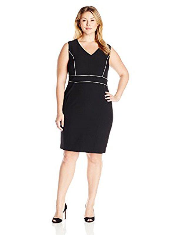 Lyst Kasper Plus Size Stretch Crepe Piped Sheath Dress In Black