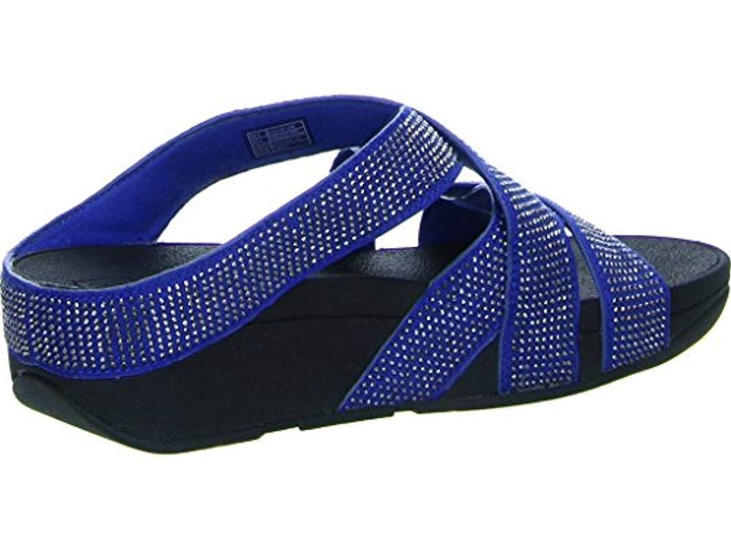 230cd4c64 Fitflop - Blue Slinky Rokkit Criss-cross Slide Open-toe Sandals - Lyst.  View fullscreen