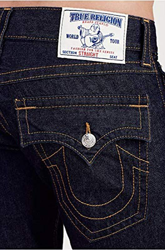 ed3204c43 True Religion Straight Leg Jean With Flap Back Pockets in Blue for ...