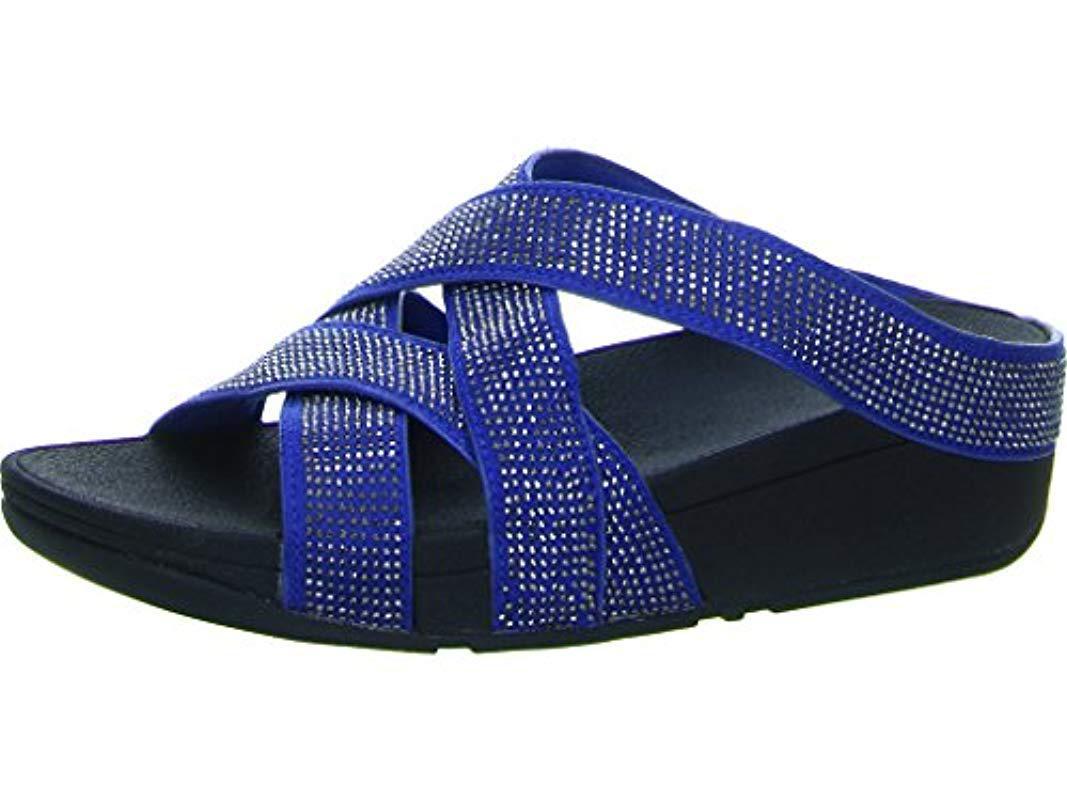 c1cf6d66e Fitflop Slinky Rokkit Criss-cross Slide Open-toe Sandals in Blue - Lyst